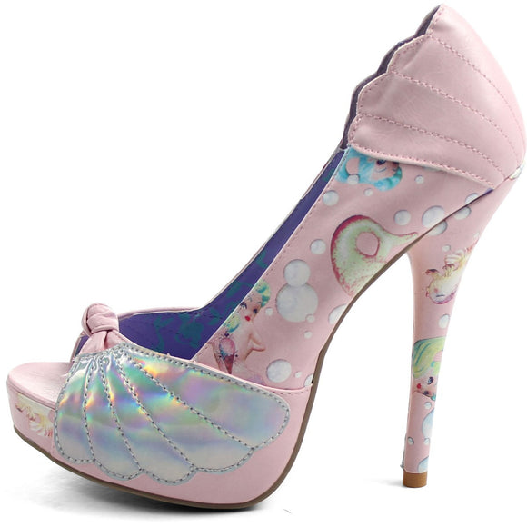 Lollipop Lorelei Shell Peep Toe Platform Heels