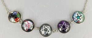 Vintage Necklace with Colorful Pentagram