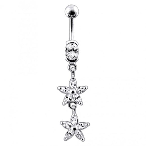 Sterling Silver Jeweled Double Flower Dangling SS Banana Bar Navel Ring