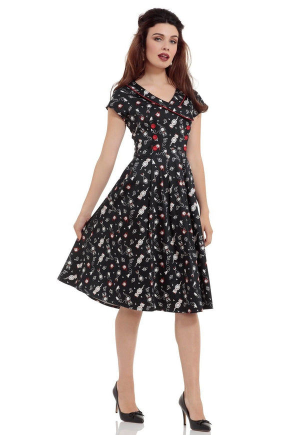 Clockwork Cat Plus Size Flare Dress