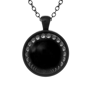 Lunar Cycle Moon Phases Necklace Face