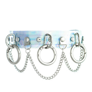 Triple O-Ring Collar PU Iridescent Choker