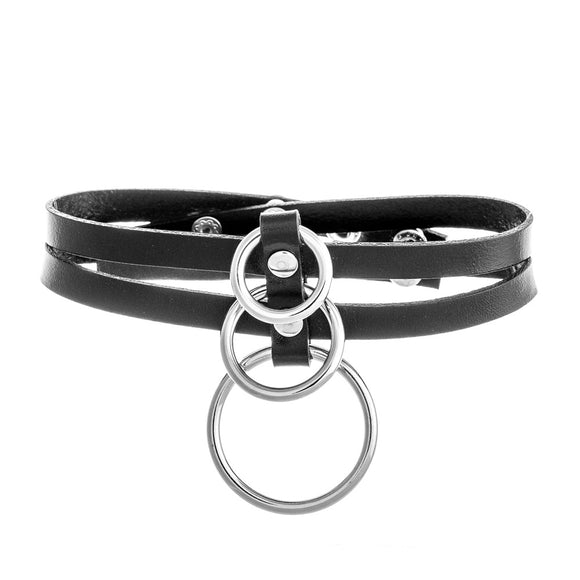 Triple O-Ring Collar PU Leather Choker