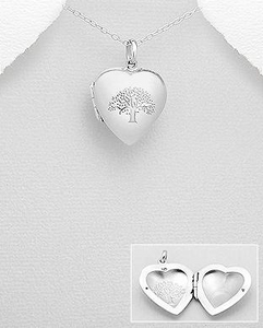 Tree Of Life Locket 925 Sterling Silver Pendant With Chain