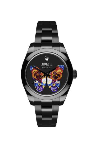 Rolex Milgauss: Butterfly with Pansies Titan Black USA