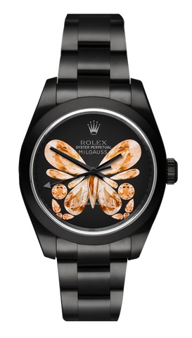 Rolex Milgauss: Orange Monarch Butterfly Titan Black USA