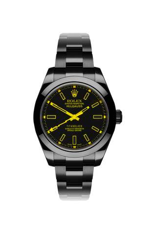 Rolex Milgauss: Yellow Night Titan Black USA