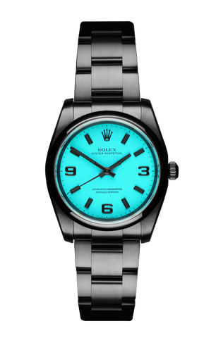 The Beach Collection - Rolex Oyster Perpetual Neon Blue 116000 Titan Black USA