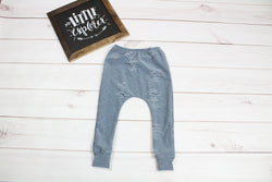 Distressed Denim Fabric Legging Pants