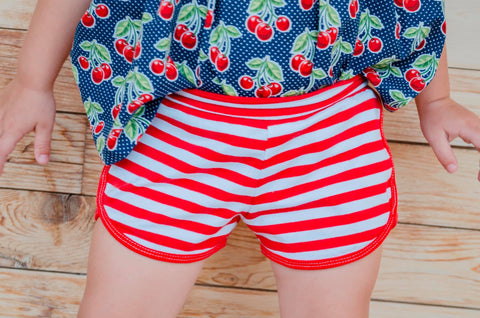 Red and White Shorts