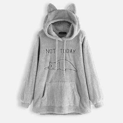 NOT TODAY Oversize Fleece Hoodie With Cat Ears