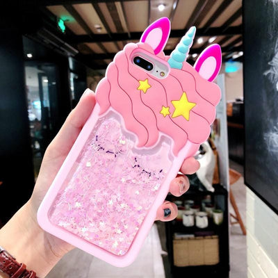 3D Pink Quicksand Unicorn Phone Case for Samsung & Iphone