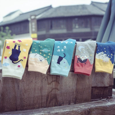 5pair Artful Cat Socks-Home-FreakyPet