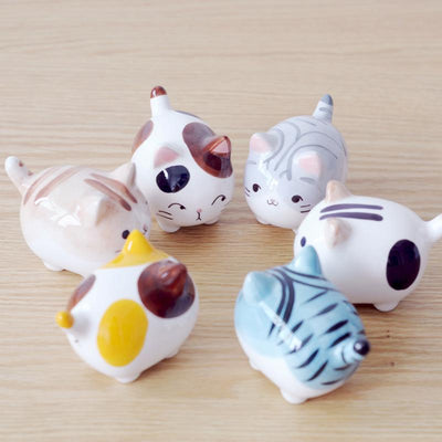6pcs/set Cute Cat Figurines Ceramic Crafts Home Decor
