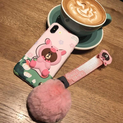 Adorable Animal Phone Case With Fluffy Ball  Strap