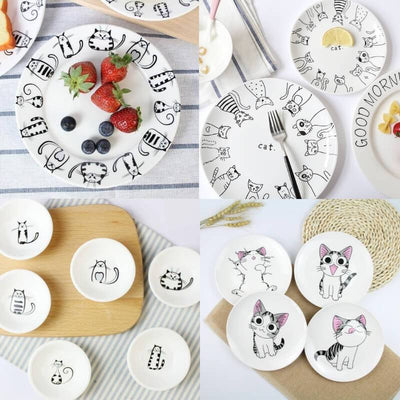 Cute Cat Friends Ceramic Plate Sets