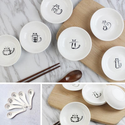 6Pcs Cute Cat Mini Ceramics Dishes