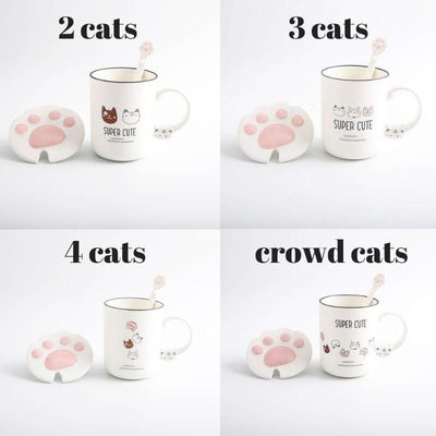 Super Cute Cat Mug With Claw Lid And Spoon