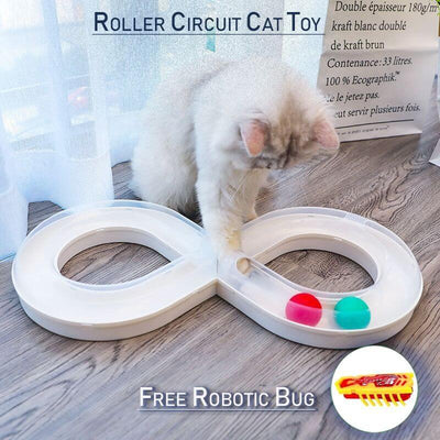 Interactive Roller Circuit Cat Toy + FREE Robotic BUG-Cat Toys-FreakyPet
