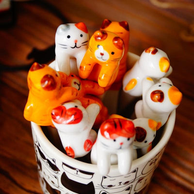 5pcs Ceramic Cat Spoons