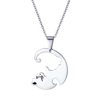 2Pieces Yin Yang Couples Cat Necklaces