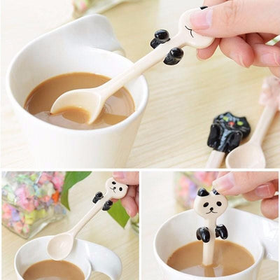 5pcs Cute Animal Ceramic Tea Spoons