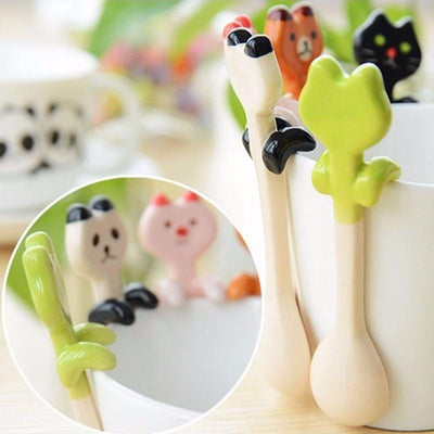 Cute Ceramic Animal Teaspoons-Spoons-FreakyPet