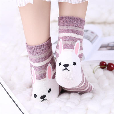 5pcs Cute Cat Animals Striped Socks