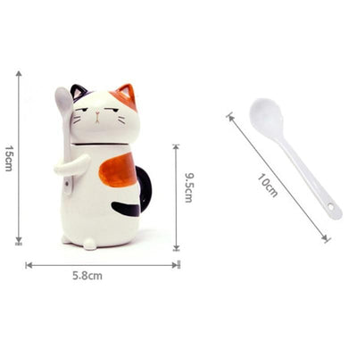 Cute Dog & Cat Mug with Spoon