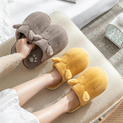 Cute Cat Paw Slippers With Ears