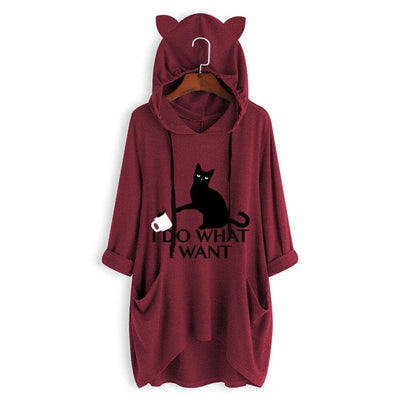 I D0 WH4T I W4NT Oversize Hoodie With Cat Ears-Hoodies & Sweatshirts-FreakyPet