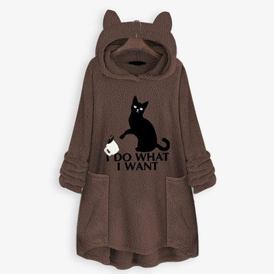 I D0 WH4T I W4NT Fluffy Fleece Oversize Hoodie With Cat Ears-Hoodies & Sweatshirts-FreakyPet