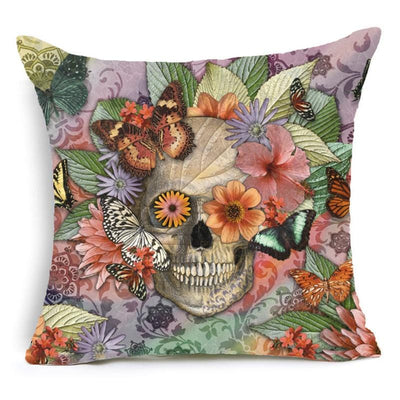 Floral Skull Print Pillow Case