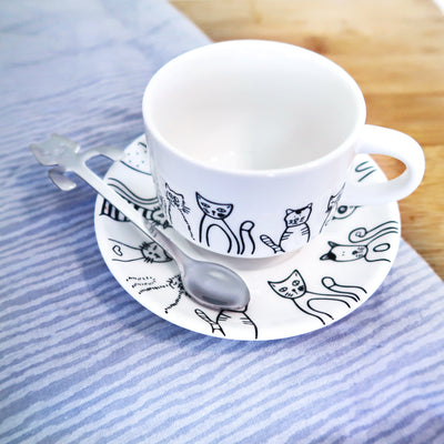 Cute Ceramic Cat Dishware Set