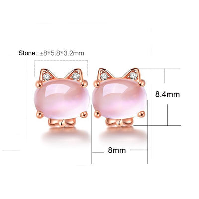 Pink Quartz Crystal Rose Gold Plated Rhinestone Cat Earrings-FreakyPet