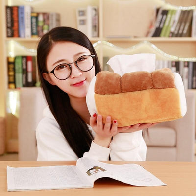 Simulation Bread Toast Plush Tissue Box