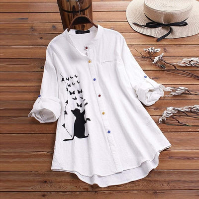 Cute Cat Butterfly Print Oversize Blouse Shirt-Home-FreakyPet