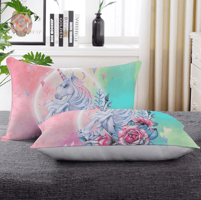 Unicorn Rose Floral Throw Pillow