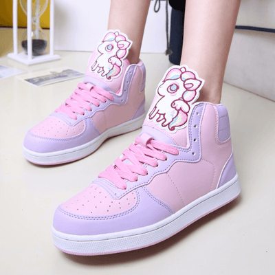 Unicorn Cartoon High Top Sneakers