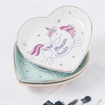 Heart Shape Unicorn Ceramic Plate