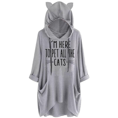 I'm Here To Pet All The Cats Oversize Hoodie With Cat Ears-Hoodies & Sweatshirts-FreakyPet