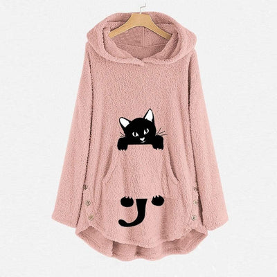 Cute Cat Embroidery Fleece Oversize Hoodie-Home-FreakyPet