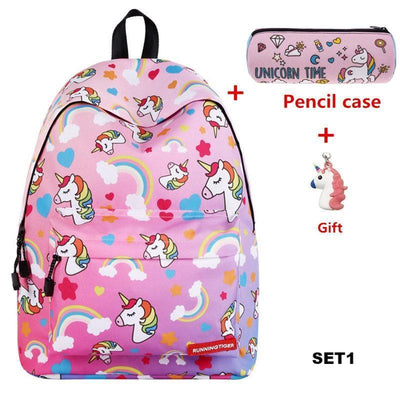 Unicorn 3D Printing Backpack With Pencil Case