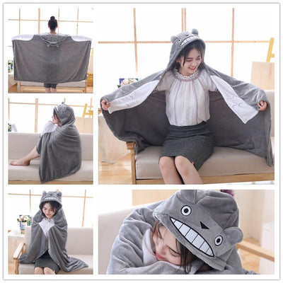 Happy Totoro Hooded Blanket