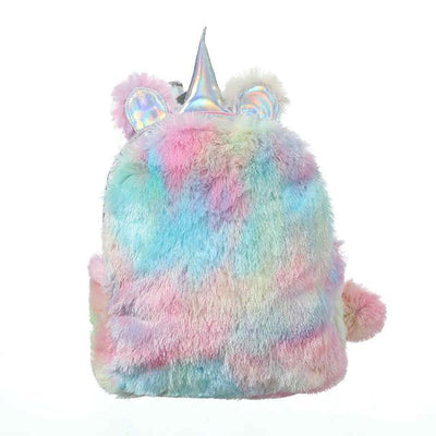 Rainbow Unicorn Fluffy Hologram Backpack