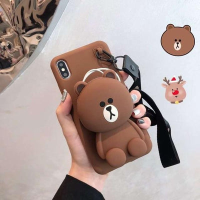 3D Kawaii Cartoon Wallet Phone Case