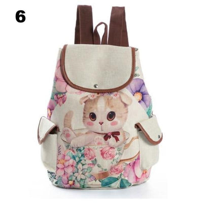 Retro Kitty Canvas Backpack