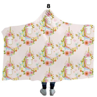 Rainbow Unicorn Big Soft Hooded Blanket