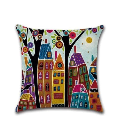 Retro Rural Color Cities Cushion Cover