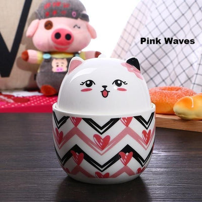Cute Kawaii Chubby Cat Breakfast Cup With Spoon